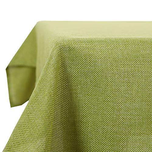 Deconovo Leinenoptik Tischdecke Wasserabweisend Tischwäsche Lotuseffekt Tischtuch 137x200 cm Grün