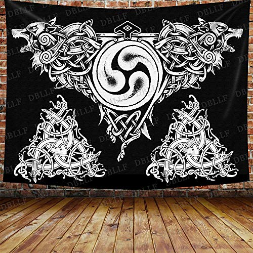DBLLF Viking Wolf Tapestry Celtic Wolves Tapestry Wall Hanging, Cotton Art Large Tapestries Fantasy Norse Mythology Wall Tapestry, for Home Decor (Black White, 80 x 60 inches) GTYYDB1300