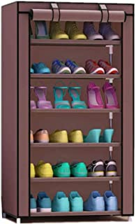 Canvas shoe cabinet with 6 shelves coffee color