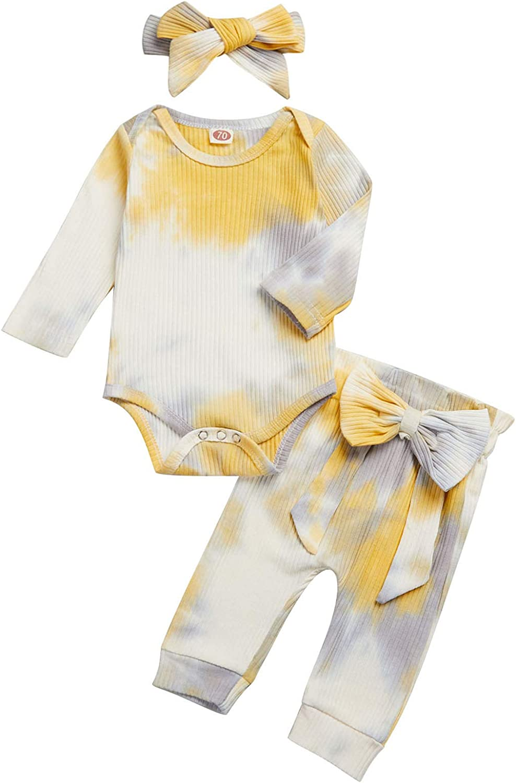 Baby Girl Tie Dye Outfits Long Sleeve Shirt Tops Bodysuit Romper Pants Headband 3PCS Infant Clothes Sets