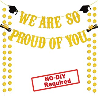 Large We are So Proud of You Banner Gold Glittery Graduation Party Supplies Grad Party Decorations