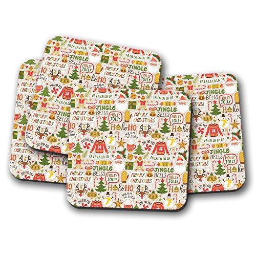 4 Set - Merry Christmas Coaster - Reindeer Holly Santa Jumper Xmas Gift #15452
