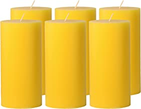 CandleNScent 3x6 Yellow Pillar Candles Hand Poured Unscented (Pack of 6)