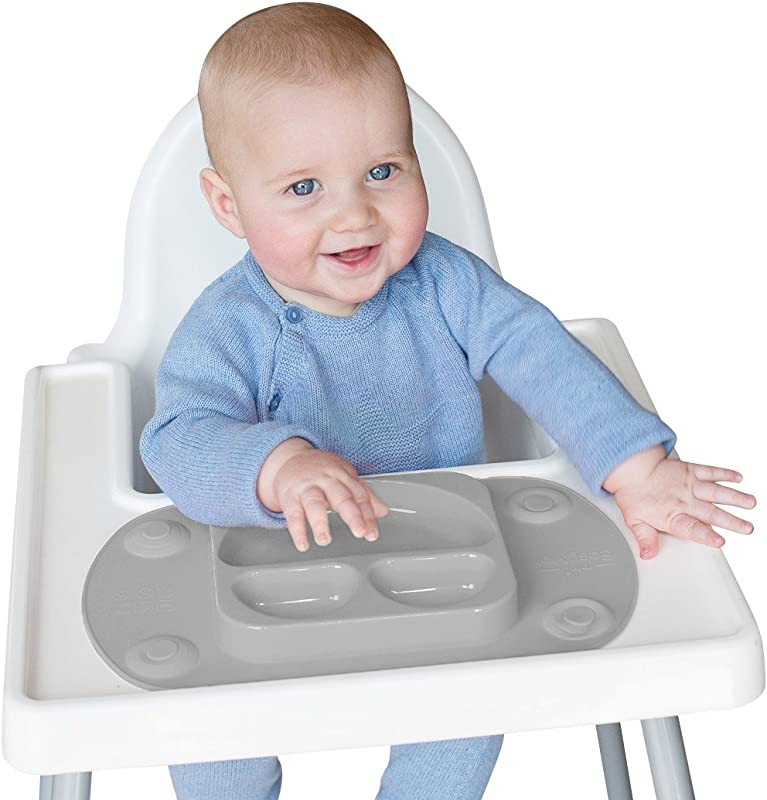 EasyMat Mini Portable Baby Suction Plate With Lid And Carry Case For High Char Feeding And Travel Grey