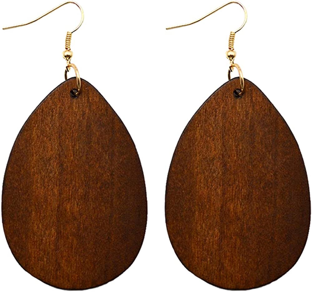 SMALLLOVE Wooden Hoop Earrings for Girls Women Black Retro Afric Ranking integrated 1st place High order