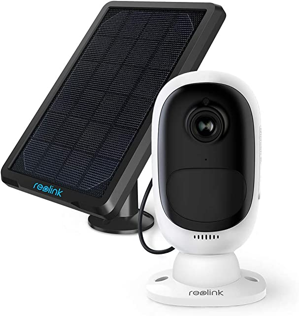 Reolink Argus 2 Cámara Vigilancia con Panel Solar 1080P WiFi Exterior Cámara IP Inalámbrica con Batería Recargable Detección de Movimiento PIR Audio Bidireccional para Hogar Seguridad