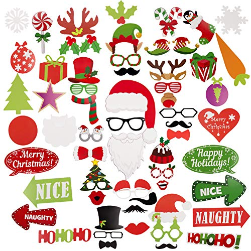 Christmas Photo Booth Props, Korlon 60 Pack Christmas Photo Props Selfie for Pictures - for Kids & Adults, Holiday Photo Booth Props