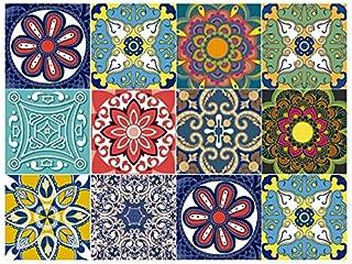 Bricka Premium Multicolor Tile Stickers Decorative 6x6 inches Set 10 Units. Peel and Stick backsplash. Kitchen Bathroom Stairs. Home Decor.