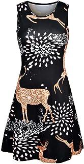 Kviklo - Vestito da donna senza maniche, con scollo rotondo, con stampa natalizia