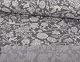 Jacquard Strickstoff, Blumen Muster Grau, als Meterware zum