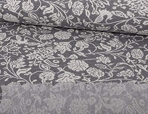 Jacquard Strickstoff, Blumen Muster Grau, als Meterware zum Nähen von Erwachsenen und Kinder Kleidung - recycelt, 50 cm
