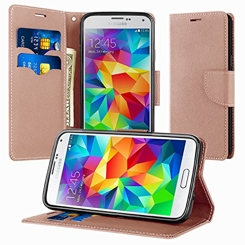 Coque Samsung Galaxy S5, Supad Magnétique Ultra Flip Premium PU Cuir Doux TPU Portefeuille Wallet Case Cover Housse Etui avec Fonction Stand pour Samsung Galaxy S5 (Or Rose)