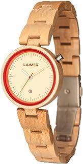 LAiMER Montre en bois Nicky - Montre bracelet pour femme en 100 % bois noble pour un style de vie unique - Naturelle, légè...