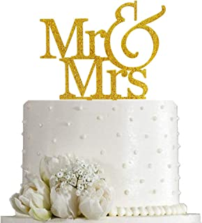 Mr and Mrs Cake Topper Bride And Groom Sign Wedding Engagement Cake Toppers Decorations (Gold Glitter Acrylic)