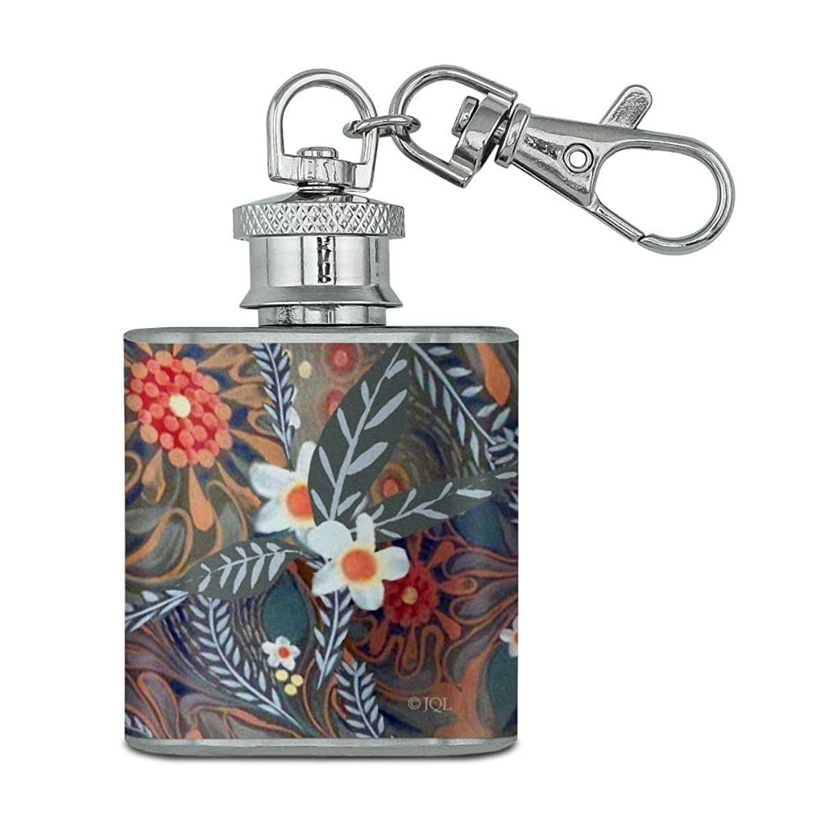 Crazy Flower Floral Pattern Stainless Steel 1oz Mini Flask Key Chain
