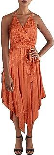 Womens Satin Handkerchief Hem Wrap Dress
