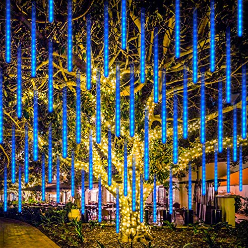 LED de Meteoros Lluvia Luces Guirnalda, Rilitor Luz de Lluvia de Meteoros 30cm 8 Tubos 192 LEDs IP65 Impermeable para Fiesta Árbol de Navidad Jardín Halloween (Azul)