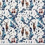 Polyesterstoff, blau, bedruckt, Hirsch, zum Nähen, Patchwork, Basteln, für Kleidung, Zuhause, Weihnachten, Party, handgefertigte Dekoration