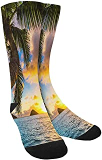 InterestPrint Funny Summer Beach Palm Tree Crew Socks Adult Athletic Sublimated Socks for Men Women