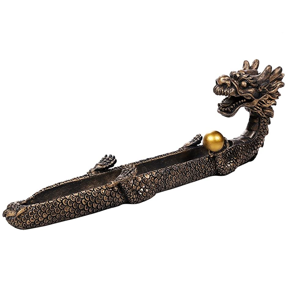 淡い屋内競合他社選手Feng Shui Dragon Holding Orb Cast Bronze Stick Incense Burnerホルダー10.25インチL