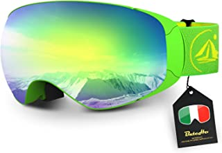 Ski Goggles,Magnet Interchangeable OTG Anti-Fog UV Protection Snowboard Goggles
