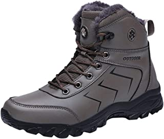 LUKALUKADA Men's Boots Men's Outdoor Non-Slip Sport Shoes Lace-Up Keep Warm Mountaineering Sneakers Boots