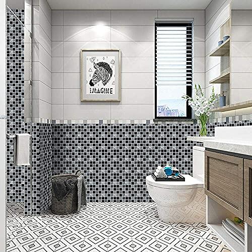 MSC066 - Adhesivo de azulejos de mosaico, 30 unidades, autoadhesivo, azulejos de pared, impermeable, papel para cuarto de baño y cocina (60 unidades de 10 x 10 cm)