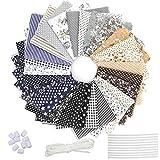 28 piezas tela de algodón patchwork, tela de estampada flores de costura de material textil manualidades retales algodón con cinta elástica e puente de la nariz para coser diy(25x25cm color profundo)