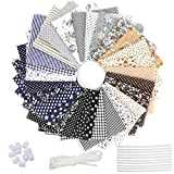 28 Piezas Tela de Algodón Patchwork, Tela de Estampada Flores de Costura de Material Textil...