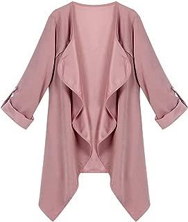 ZOMUSA Women Spring Lightweight Thin Solid Long Sleeve Loose Windbreaker Plus Size Coat Cardigan Tops