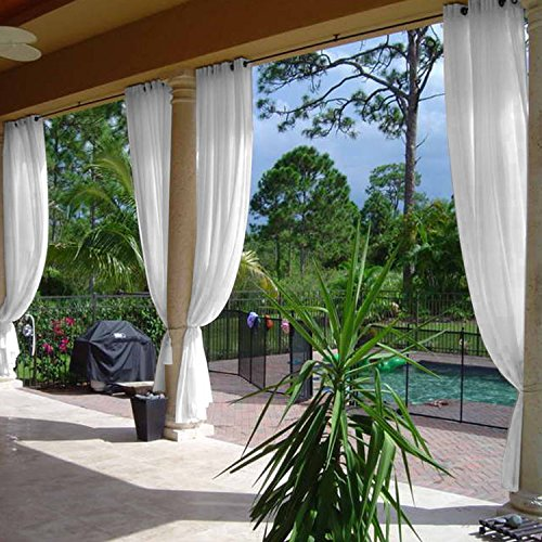 cololeaf Indoor Outdoor Sheer Curtain for Patio| Porch| Gazebo| Pergola | Cabana | Dock| Beach Home| Backyard| Country| Garden| Wedding - Nickle Grommet - White 52' W x 84' L (1 Panel)