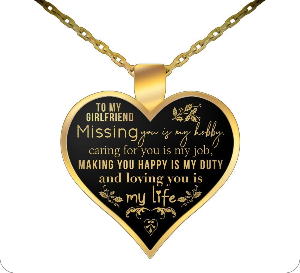 Amazon Com Mikmik Online My Girlfriend Necklace Gift Love Birthday Valentines Day Heart Pendant From Boyfriend Sports Outdoors