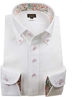 [スタイルワークス] ドレスシャツ ワイシャツ シャツ メンズ 国産 長袖 綿100% スリムフィット ボタンダウン ホワイト (Sサイズ・裄丈81cm)