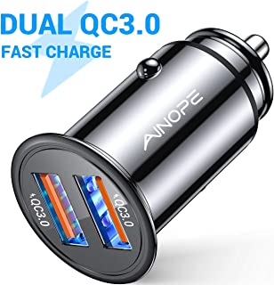 AINOPE USB Car Charger, [Dual QC3.0 Port] 36W/6A [All Metal] Fast Car Charger Mini Cigarette Lighter Usb Charger Quick Charge Compatible with iPhone 11/11 pro/XR/X/XS, Note 9/Galaxy S10/S9/S8