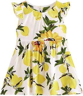 Tonsee 女の子 ワンピース ガールズ 夏 袖なし 花柄 プリンド ドレス ビーチ パーティー カジュアル 旅行 お出かけ 100CM-140CM