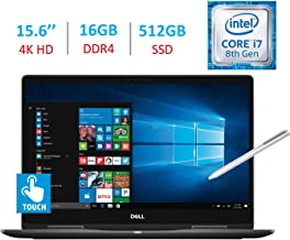 $949 » Dell 15.6-Inch 2-in-1 4K Ultra HD (3840 x 2160) Touch Laptop PC, Intel i7-8550U Processor, 16GB DDR4, 512GB SSD, NVIDIA GeForce MX130, Backlit Keyboard, Stylus Pen, Bluetooth, HDMI, Windows 10