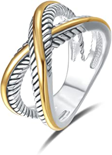 UNY Ring Vintage Designer Fashion Brand Women Valentine Gift Two Tone Plating Twisted Cable Wire Rings