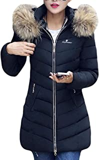 Womens Fashion with Fur Hooded Coat Warm Winter Outwear Jacket Outwear Mid Length Coats Outwear Top