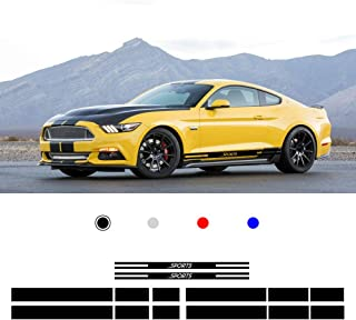 Optional Colour Vinyl Sports Racing Decal Side Stripes Stickers Badge for F ORD Mustang 2015-2017 Car Body Decorations Acc...