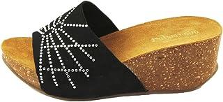 Sandalo Donna- Vera Pelle di camoscio- Made in Italy - SilferShoes -Colore Nero
