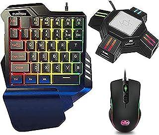 こんばーたーswitch用キーボードマウス 片手キーボード マウス セット 専用コンバーター付き アダプター RGB ゲーミング キーボード マウス セット Switch/PS5/PS4/Xbox One対応 FPS/TPS/RPG/RTS最適...