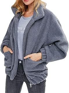 Womens Faux Fur Jackets Lapel Fleece Fuzzy Faux Shearling Winter Warm Cardigan Outwear with Pockets Dark Gray