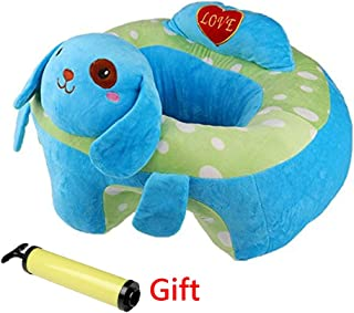 Infant Baby Sitting Chair Support,Soft Baby Support Seat Chair,Portable Dining Chair Support with Toys Attachment Safety Seat for Baby (Blue Puppy)