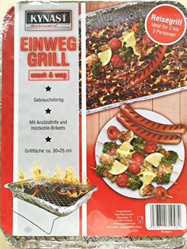 Einweggrill 30x25x4cm Grillkohle Holzkohlegrill Grill Reisegrill Picknickgrill