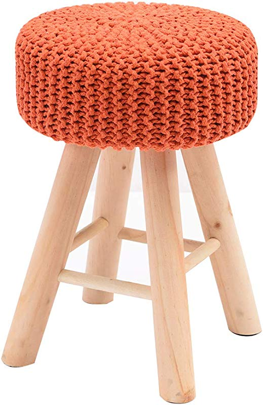 XSJ Footstools Knitting Dressing Vanity Stool Sofa Seat Premium Quality Handmade Footrest Living Room Bedroom Small Chair Change Shoes Stool Removable And Washable Cover