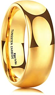 Glory Men's 4mm 6mm 8mm Tungsten Carbide Ring 24k Gold Plated Domed Polished Finish Wedding Band