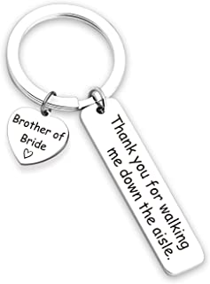 Brother of The Bride Gift Thank You for Walking Me Down the Aisle Brother Keychain Sibling Jewelry Wedding Party Gift