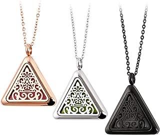 RoyAroma 3PCS Triangle Essential oil Diffuser Necklace Aromatherapy Pendant Jewelry, 23.6