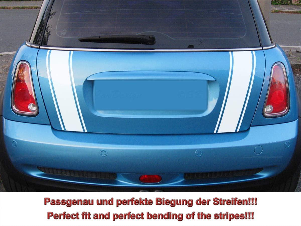 Streifen Stripes Aufkleber Heckstreifen Für R50 R53 Mini Cooper Weiss Design 2 Auto