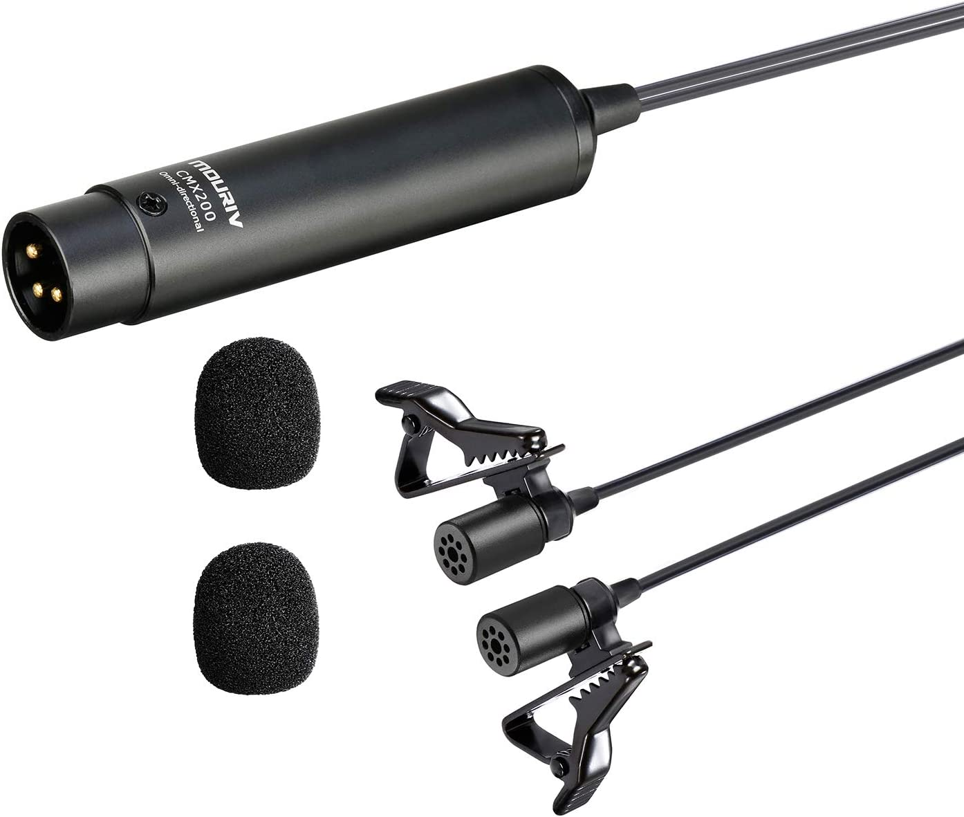 20ft Dual Max 71% OFF Head XLR Lavalier Microphone MOURIV P Omni-directional Chicago Mall